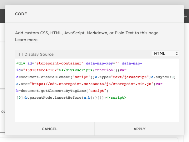 Paste the store locator embed code into Squarespace.